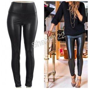 Black Leather Leggings High Waist Tummy Control